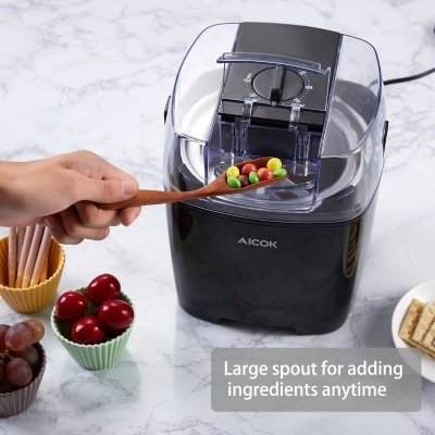 Gelatiera Aicok ICE BL1500C coperchio con sportello per inserimento ingredienti