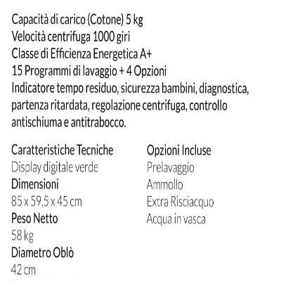 Lavatrice San Giorgio SES510D caratteristiche tecniche IMG 2