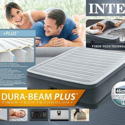 PVC Intex Ultra Plush Dura Beam Materasso con Tecnologia Fiber-Tech Q con Pompa Elettrica Incorporata