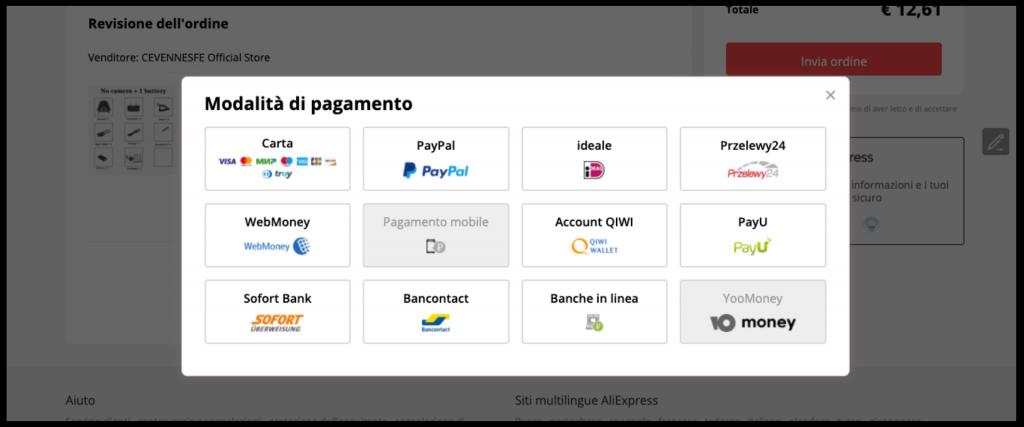 metodi pagamento AliExpress
